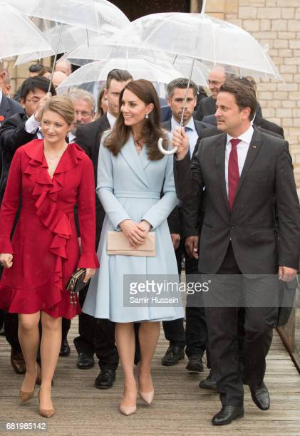 Catherine Duchess of Cambridge with Princess Stephanie of Luxembourg visit the Drai Eechelen Museum during a one day visit on May 11 2017 in...