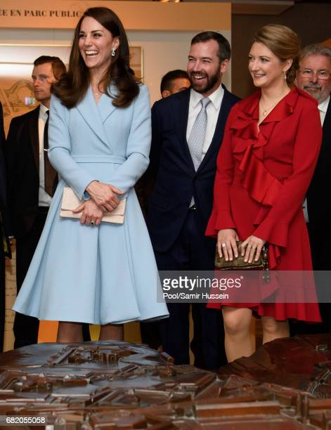 Catherine Duchess of Cambridge with Princess Stephanie of Luxembourg and Prince Guillaume of Luxembourg visit the Drai Eechelen Museum during a one...