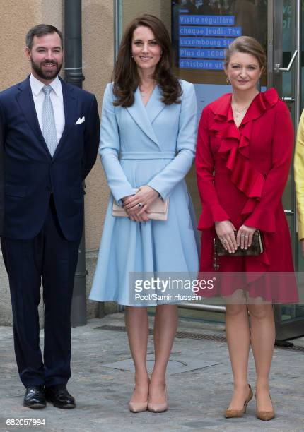 Catherine Duchess of Cambridge with Princess Stephanie of Luxembourg and Prince Guillaume of Luxembourg as they take a short walk outside the City...