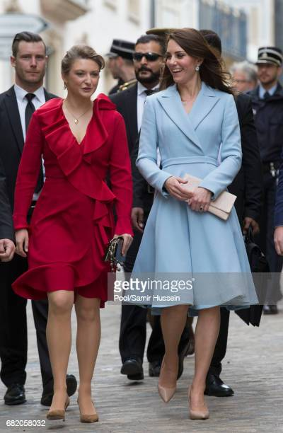Catherine Duchess of Cambridge with Princess Stephanie of Luxembourg as they take a short walk outside the City Museum to view the capital during a...