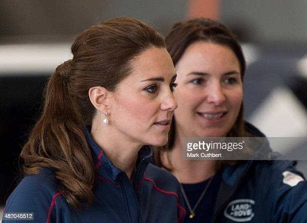Catherine Duchess of Cambridge with Rebecca Deacon at the Ben Ainslie Racing team base as she attends the America's Cup World Series event on July 26...