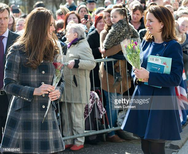 Catherine Duchess of Cambridge with Rebecca Deacon during a visit by Prince William and Catherine Duchess of Cambridge to Glasgow on April 4 2013 in...