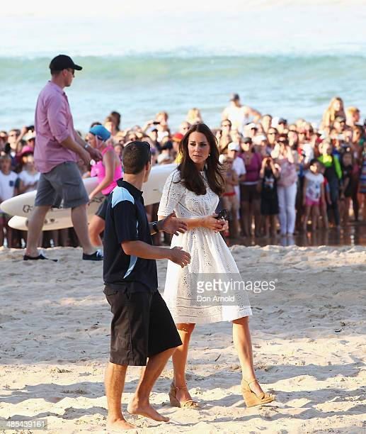 Catherine Duchess of Cambridgechats with life savers on Manly Beach on April 18 2014 in Sydney Australia The Duke and Duchess of Cambridge are on a...