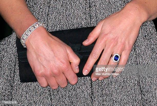 Catherine Duchess of Cambridge's clutch bag bracelet and engagement ring seen as she attends the 'Lucian Freud Portraits' exhibition at the National...