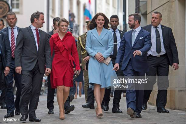 Catherine Duchess of Cambridgewith Crown Prince Guillaume and Princess Stephanie during a visit to the Luxembourg City Museum where she viewed an...