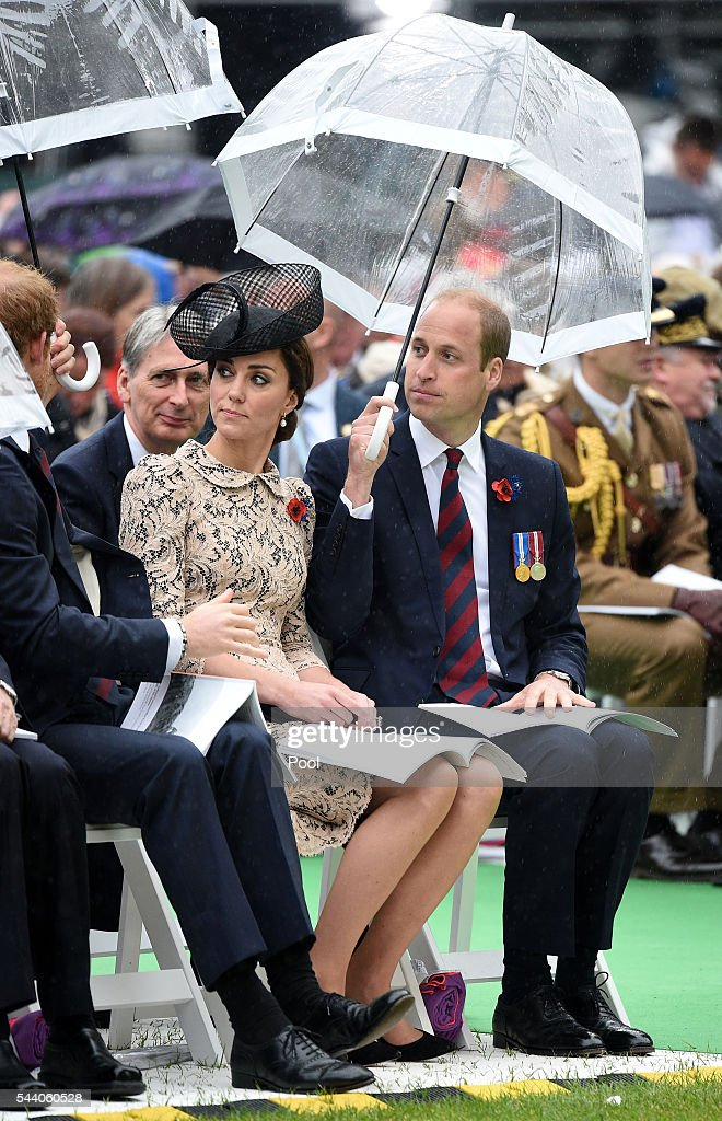 Catherine, Duchess of Cornwall and Prince William, Duke of Cambridge during the Commemoration of the Centenary of the Battle of the Somme at the Commonwealth War Graves Commission Thiepval Memorial on July 1, 2016 in Thiepval, France. The event is part of the Commemoration of the Centenary of the Battle of the Somme at the Commonwealth War Graves Commission Thiepval Memorial in Thiepval, France, where 70,000 British and Commonwealth soldiers with no known grave are commemorated.