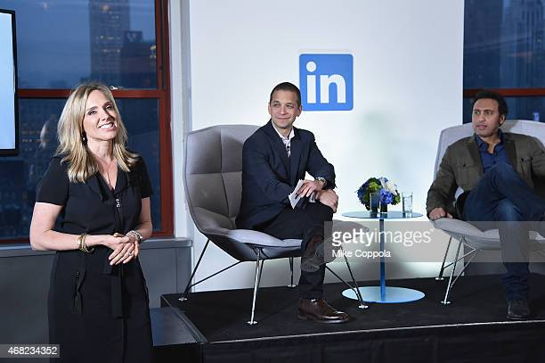Catherine Fisher Senior Director of Corporate Communications and Dan Roth LinkedIn Executive Editor and Aasif Mandvi speak onstage at LinkedIn...