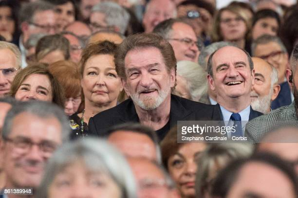 Catherine Frot Eddy Mitchell and Pierre Lescure attend the Opening Ceremony of the 9th Film Festival Lumiere on October 14 2017 in Lyon France