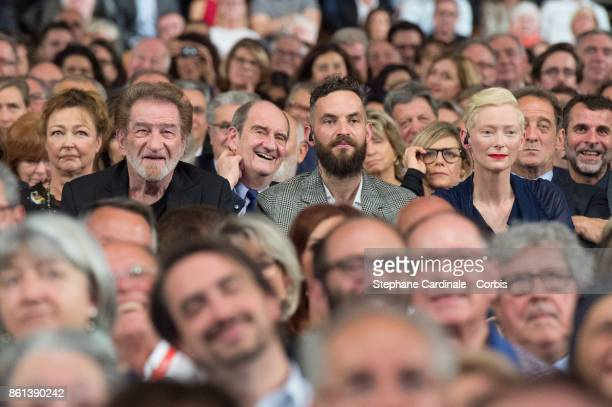 Catherine Frot Eddy Mitchell Pierre Lescure Sandro Kopp and Tilda Swinton attend the Opening Ceremony of the 9th Film Festival Lumiere on October 14...