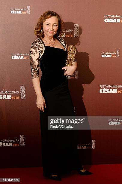 Catherine Frot poses with her award of Best Actress for the movie 'Marguerite' during The Cesar Film Awards 2016 at Theatre du Chatelet on February...