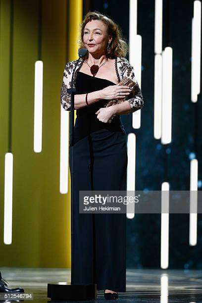 Catherine Frot receives an award for best actress in 'marguerite' during The Cesar Film Award 2016 at Theatre du Chatelet on February 26 2016 in...