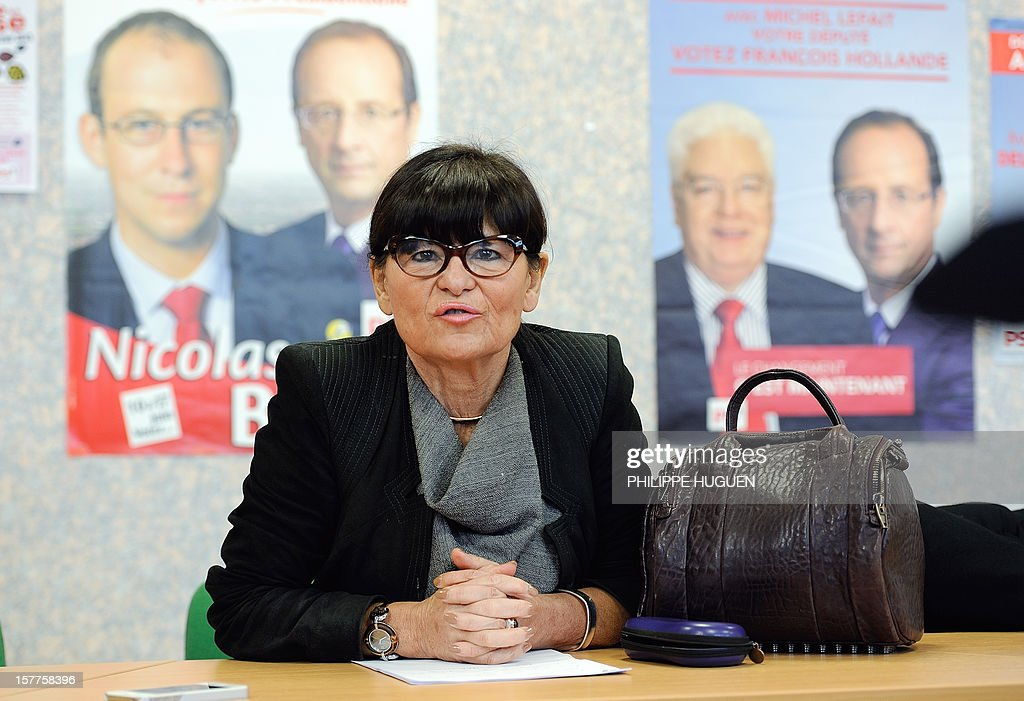 Catherine Genisson, head of the French socialist party federation of the Pas-de-Calais gives a press conference, on December 6, 2012 in Lens, during a search at the federation's headquarters as part of an inquiry into an alleged hidden financing of this federation, involving local MP Jean-Pierre Kucheida.