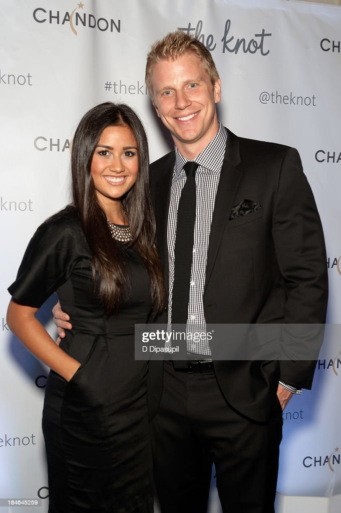 <a gi-track='captionPersonalityLinkClicked' href=/galleries/search?phrase=Catherine+Giudici&family=editorial&specificpeople=10551820 ng-click='$event.stopPropagation()'>Catherine Giudici</a> (L) and Sean Lowe attend The Knot Gala at the New York Public Library - Astor Hall on October 14, 2013 in New York City.