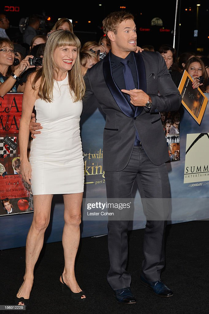 Catherine Hardwicke and actor Kellan Lutz arrive at 'The Twilight Saga: Breaking Dawn - Part 2' Los Angeles premiere at the Nokia Theatre L.A. Live on November 12, 2012 in Los Angeles, California.