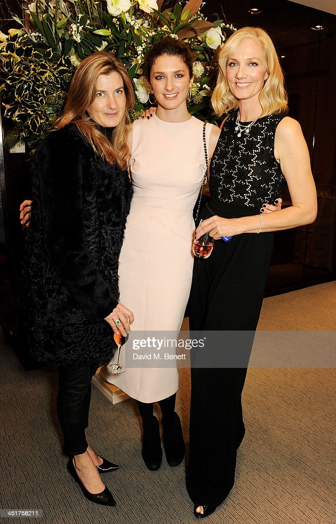Catherine Hess Daisy Bevan and Joely Richardson attend as Joely Richardson officially opens the Tiffany Co Christmas Shop on Bond Street London on...