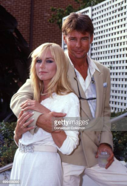 Catherine Hickland with JanMichael Vincent from a publicity shoot for AIRWOLF Season 3 premiere 'The Horn Of Plenty' August 1985 in Los Angeles...