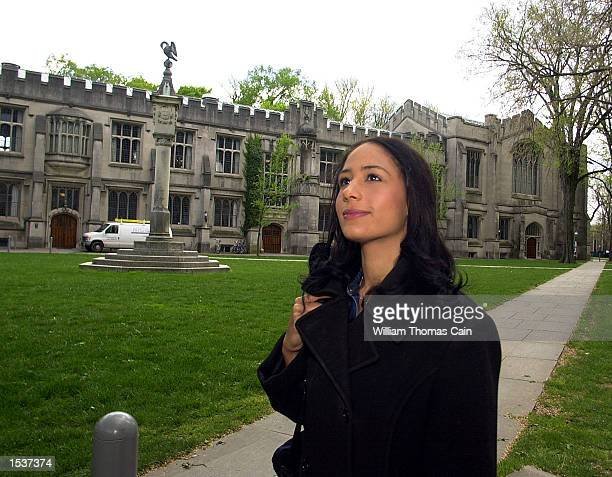 Catherine Holahan from Teaneck NJ a student of JamaicanIrish decent walks home after class on the campus of Princeton University April 23 2002 in...