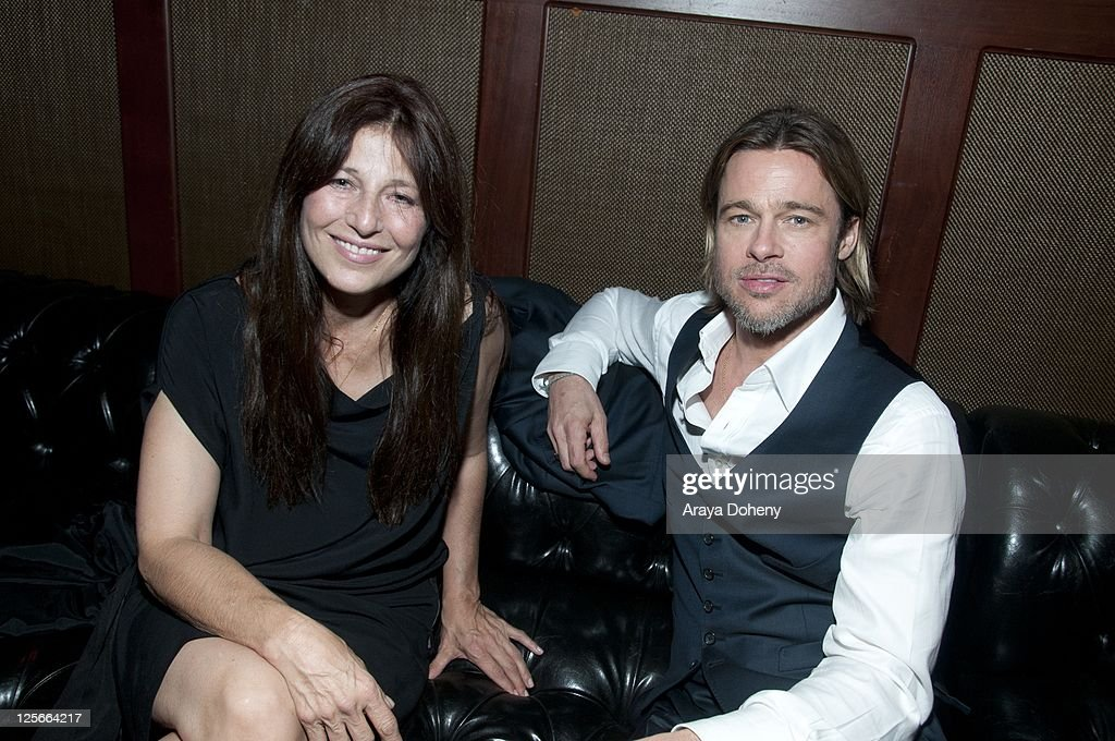 Catherine Keener and Brad Pitt attend the 'Moneyball' Oakland premiere after party at The Fox Theatre on September 19 2011 in Oakland California