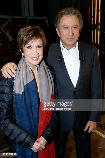Catherine Laborde and Presenter of the show Michel Drucker attend the 'Vivement Dimanche' French TV Show at Pavillon Gabriel on February 10 2016 in...