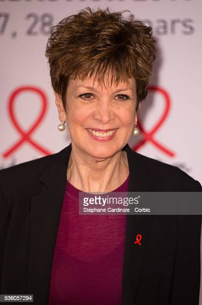 Catherine Laborde attends the launch of the 2015 Sidaction held at the Musee du quai Branly on March 2 2015 in Paris France