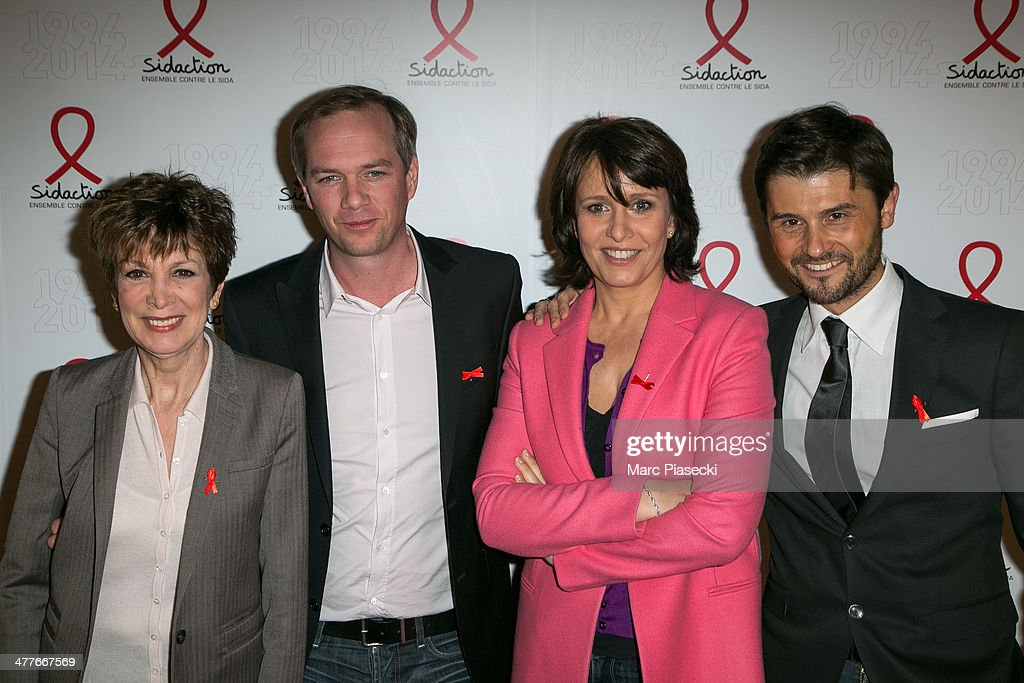 Catherine Laborde, Julien Arnaud, Carole Rousseau and Christophe Beaugrand attend the 'Sidaction 20th Anniversary' at Musee du Quai Branly on March 10, 2014 in Paris, France.