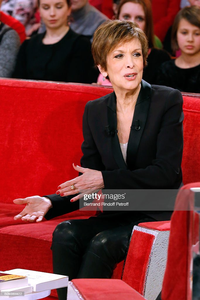 Catherine Laborde presents her Book 'Les chagrins ont la vie dure' during the 'Vivement Dimanche' French TV Show at Pavillon Gabriel on February 10, 2016 in Paris, France.