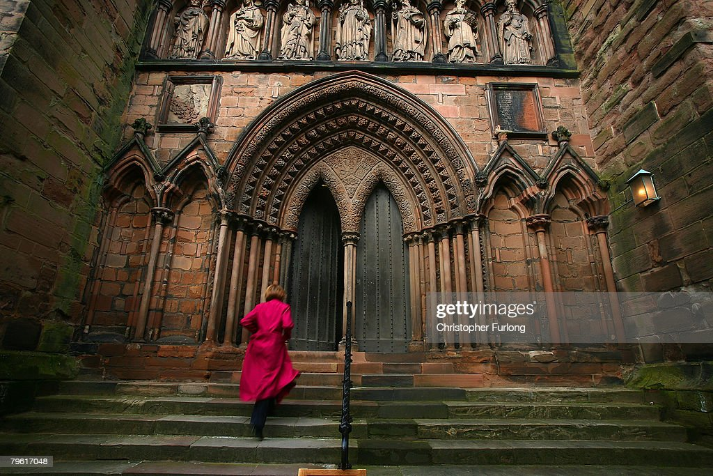 Catherine Lamb director of music and organist at Lichfield Cathedral runs to be in time for midday prayers on February 7 Lichfield England English...