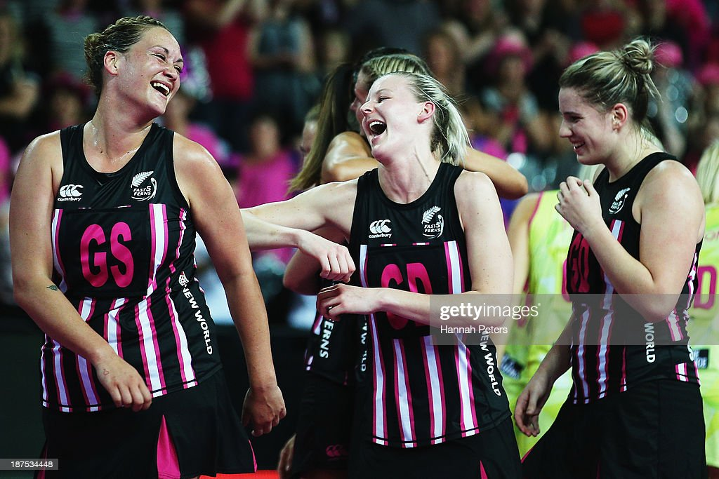 Catherine Latu and Katrina Grant of New Zealand celebrate after winning the final match between New Zealand and Australia on day three of the Fast5 Netball World Series at Vector Arena on November 10, 2013 in Auckland, New Zealand.