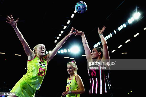Catherine Latu of New Zealand shoots during the match between New Zealand and Australia on day one of the Fast5 Netball World Series at Vector Arena...
