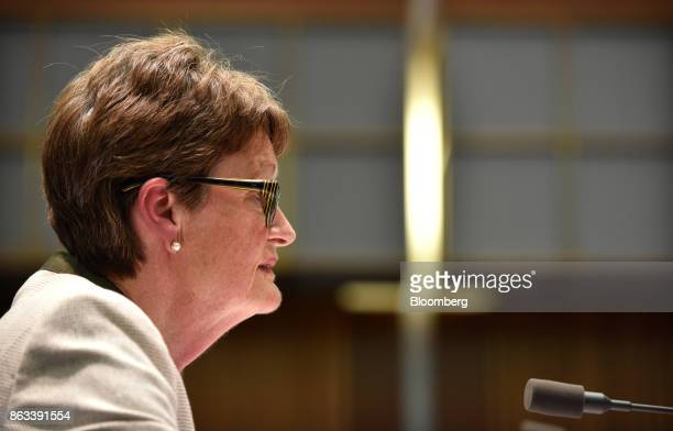Catherine Livingstone chairman of Commonwealth Bank of Australia speaks during a hearing before the House of Representatives Standing Committee on...