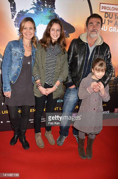Catherine Marchal Olivier Marchal and their daughters attend 'Le Cirque Eloize' VIP Premiere At Le Grand Rex on March 17 2012 in Paris France
