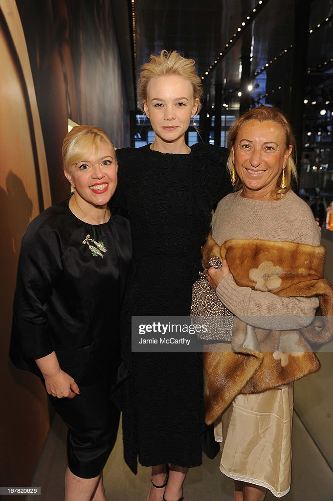 Catherine Martin, Academy Award winning costume and production designer, actress Carey Mulligan and designer Miuccia Prada attend Catherine Martin And Miuccia Prada Dress Gatsby Opening Cocktail on April 30, 2013 in New York City.