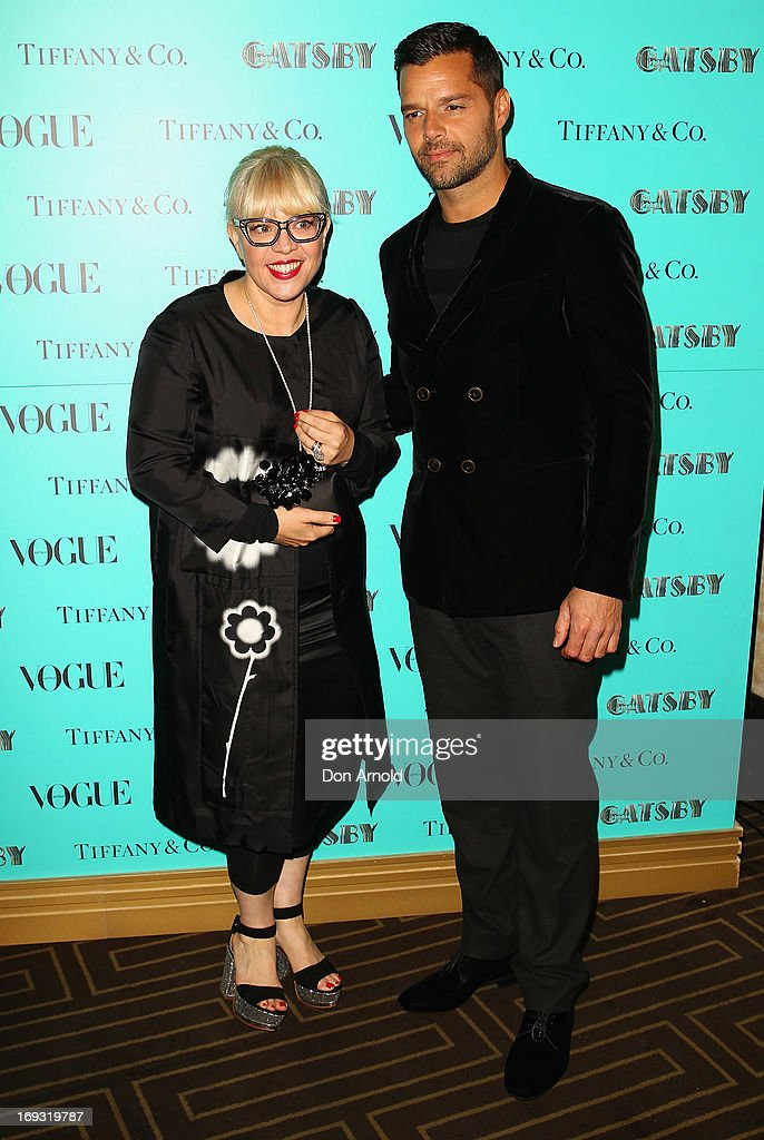 Catherine Martin and Ricky Martin arrive at the Tiffany & Co Great Gatsby dinner at Rockpool on May 23, 2013 in Sydney, Australia.