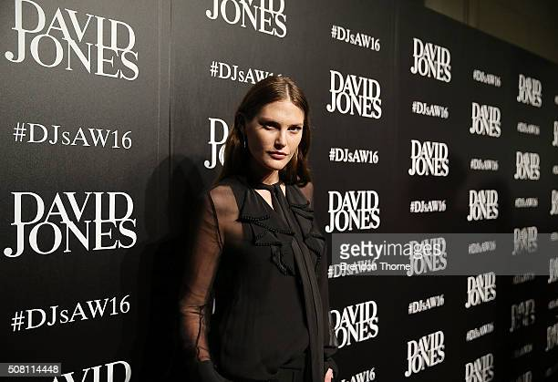Catherine McNeil arrives ahead of the David Jones Autumn/Winter 2016 Fashion Launch at David Jones Elizabeth Street Store on February 3 2016 in...