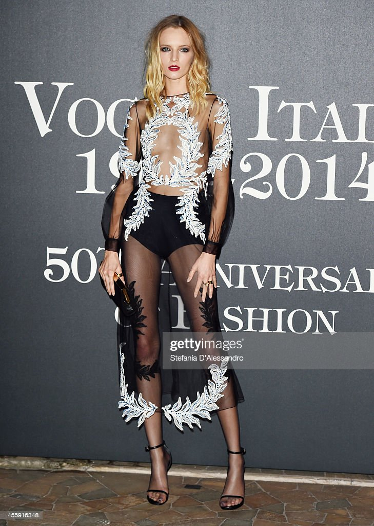 Catherine McNeil attends Vogue Italia 50th Anniversary Event on September 21 2014 in Milan Italy