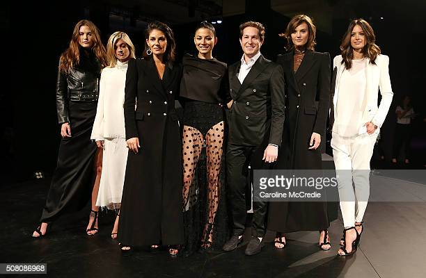 Catherine McNeil Megan Irwin Camilla FreemanTopper Jessica Gomes Marc Freeman Montana Cox and Jesinta Campbell pose wearing designs by Camilla and...