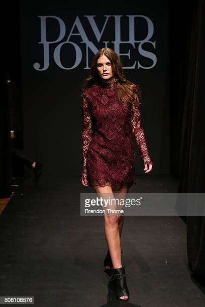 Catherine McNeil showcases designs by Manning Cartell during rehearsal ahead of the David Jones Autumn/Winter 2016 Fashion Launch at David Jones...