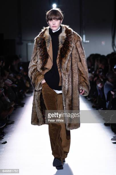 Catherine McNeil walks the runway during the Dries Van Noten show as part of the Paris Fashion Week Womenswear Fall/Winter 2017/2018 on March 1 2017...