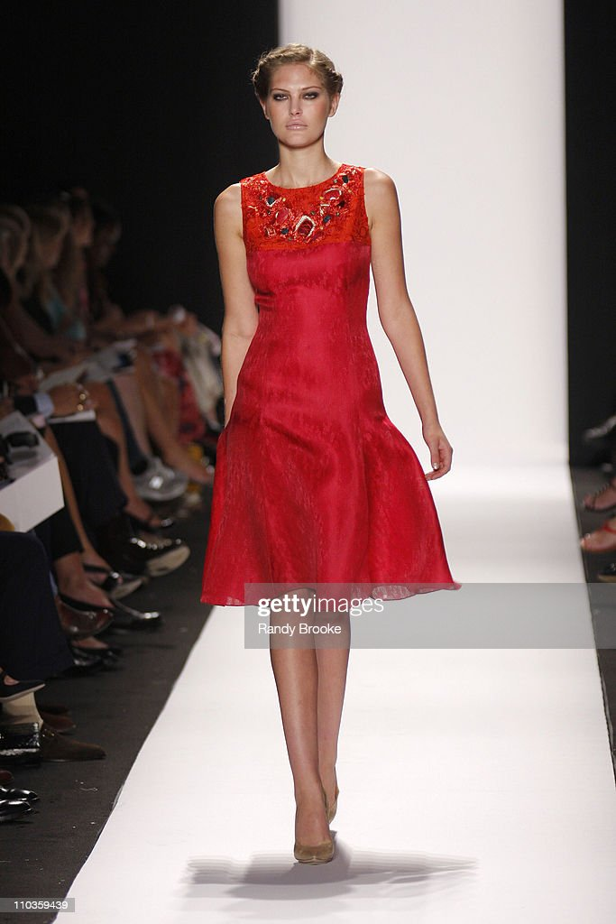 <a gi-track='captionPersonalityLinkClicked' href=/galleries/search?phrase=Catherine+McNeil&family=editorial&specificpeople=737640 ng-click='$event.stopPropagation()'>Catherine McNeil</a> wearing Carolina Herrera Spring 2009 at The Tent, Bryant Park on September 8, 2008 in New York City.
