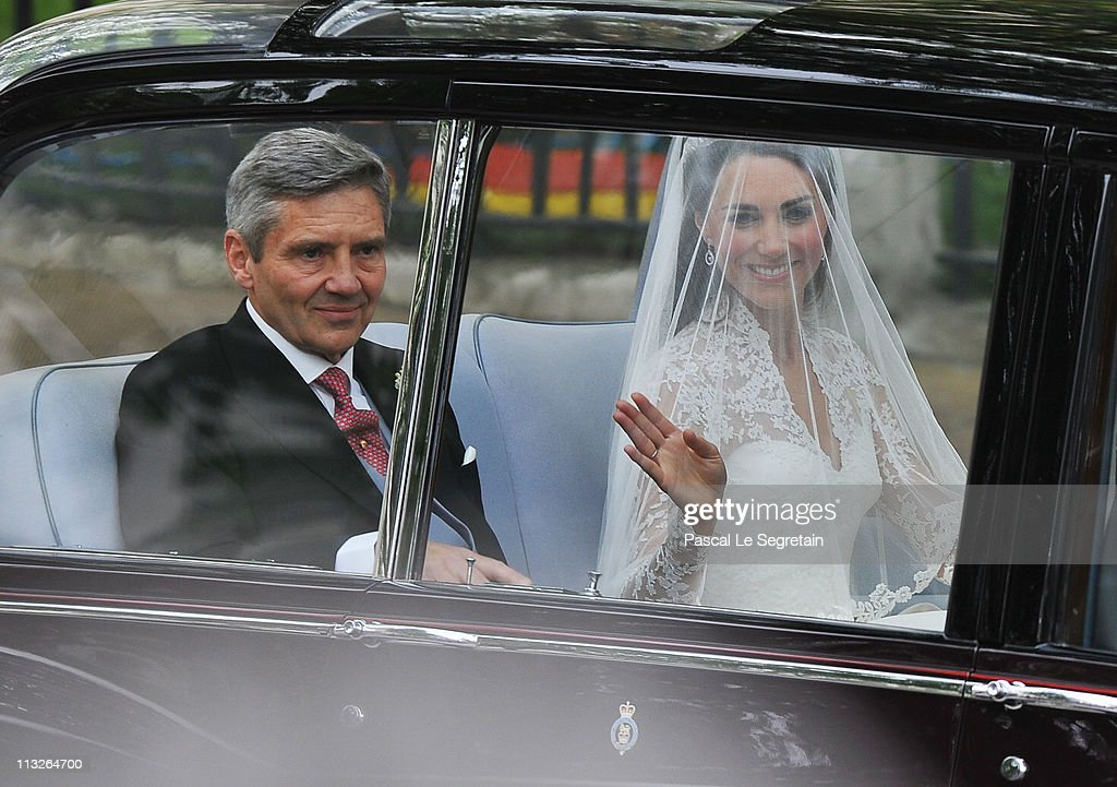 Catherine Middleton and her father Michael Middleton arrive for the Royal Wedding of Prince William to Catherine Middleton at Westminster Abbey on...