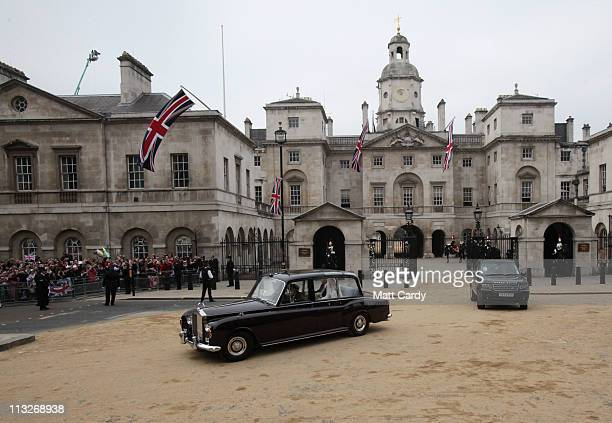 Catherine Middleton and her father Michael Middleton make their along Horseguards to attend the Royal Wedding of Prince William to Catherine...