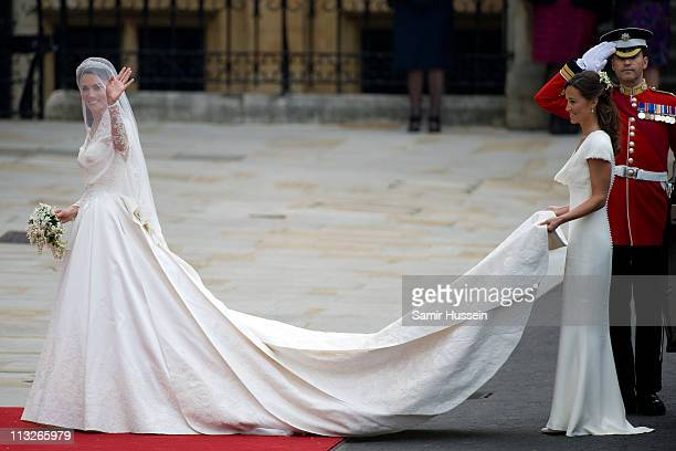 Catherine Middleton and her sister and Maid of Honour Pippa Middleton arrive for the Wedding of Prince William and Catherine Middleton at Westminster...