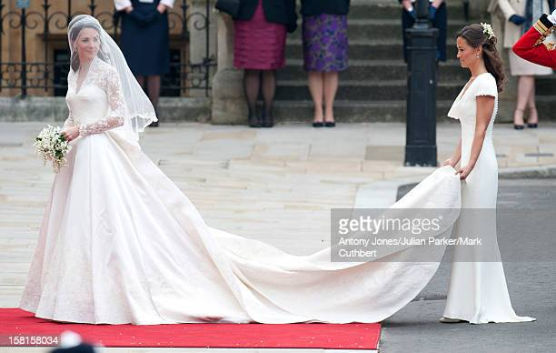 Catherine Middleton And Pippa Middleton Arrive At Westminster Abbey