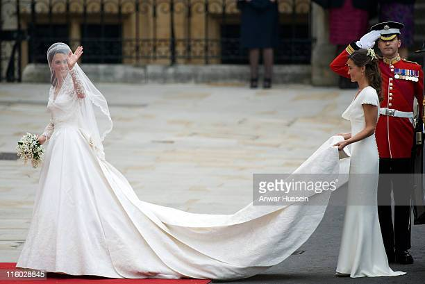 Catherine Middleton and Pippa Middleton arrive for her wedding to Prince William Duke of Cambridge at Westminster Abbey on April 29 2011 in London...