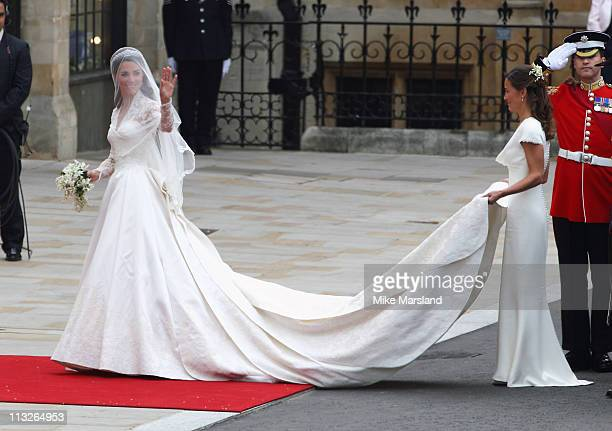 Catherine Middleton and Pippa Middleton arrive to attend the Royal Wedding of Prince William to Catherine Middleton at Westminster Abbey on April 29...