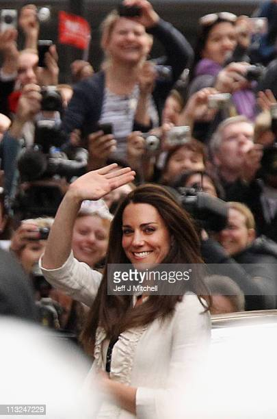 Catherine Middleton arrives at the Goring Hotel where she will spend her last night as a unmarried woman ahead of the Royal Wedding on April 28 2011...