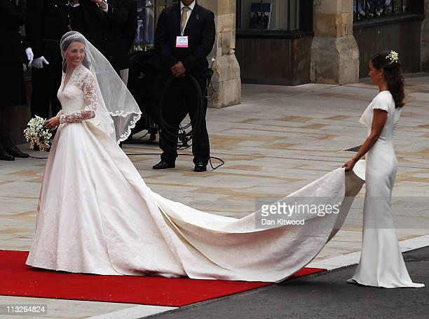 Catherine Middleton arrives for the Royal Wedding of Prince William to Catherine Middleton at Westminster Abbey on April 29 2011 in London England...