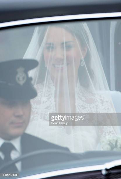 Catherine Middleton arrives in a car to attend her Royal Wedding to Prince William at Westminster Abbey on April 29 2011 in London England The...