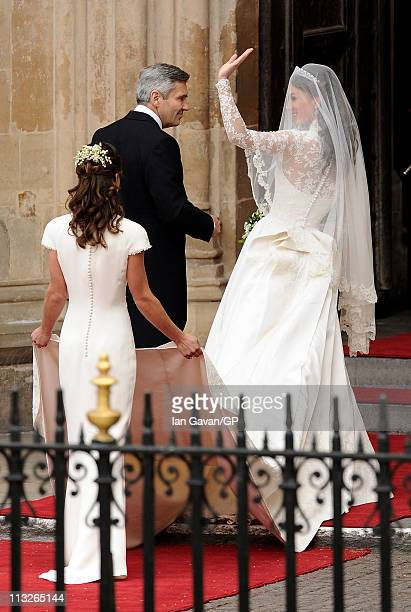 Catherine Middleton arrives to her Royal Wedding to Prince William with her father Michael Middleton and sister/maid of honour Pippa Middleton at...