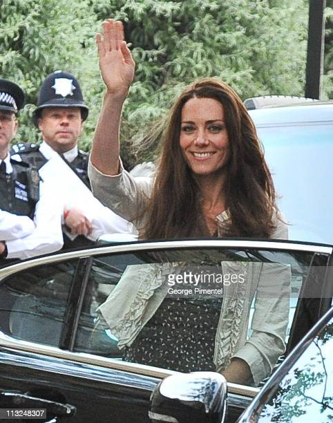 Catherine Middleton is seen arriving at the Goring Hotel where she will spend her last night as a single woman ahead of the royal wedding on April 28...